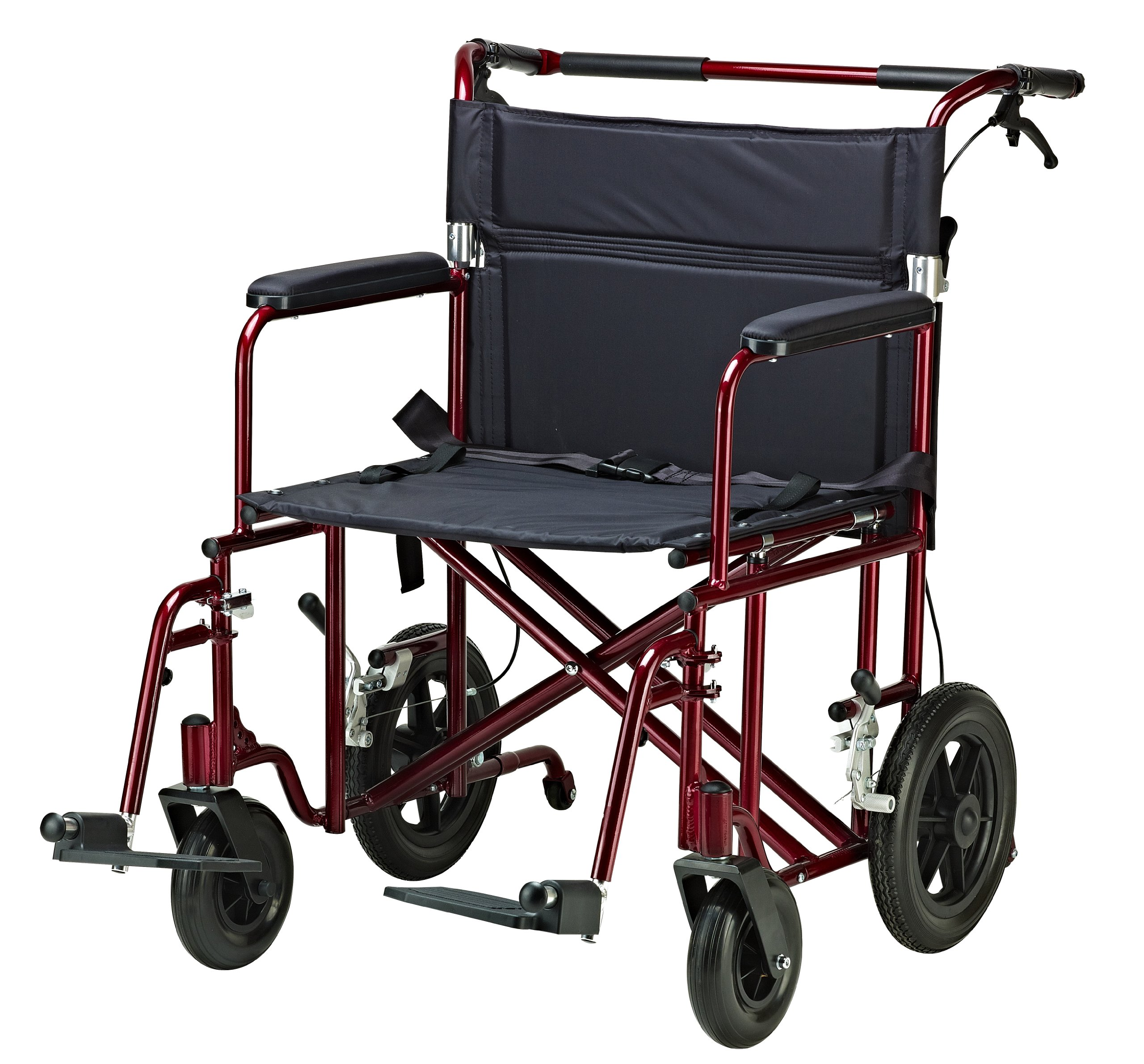 Drive Medical Bariatric Transport Chair with 12 Inches Rear Flat Free Wheels, Red, 22 Inches by Drive Medical