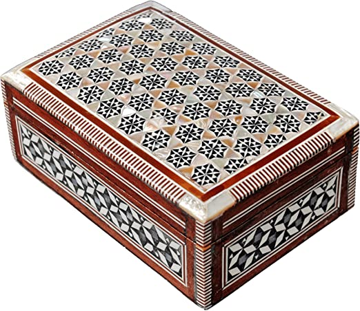 J67 LARGE SIZE Mother Of Pearl Mosaic Chest Egyptian Rectangular Jewelry Box
