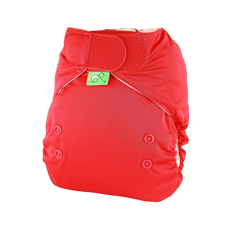 Tots Bots Easy Fit Poppet - Pañal todo en uno (talla de 3,5 a 16 kg), cierre de velcro, color rojo 5060131212555