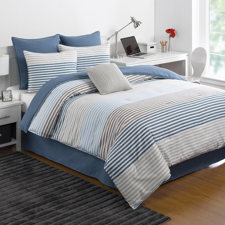 IZOD Chambray Stripe Comforter Set, Queen