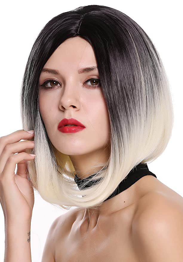 WIG ME UP ® - ZM-1691-613R1B Peluca mujer corto Bob Longbob liso raya medio mezcla ombre negro rubio platino: Amazon.es: Belleza