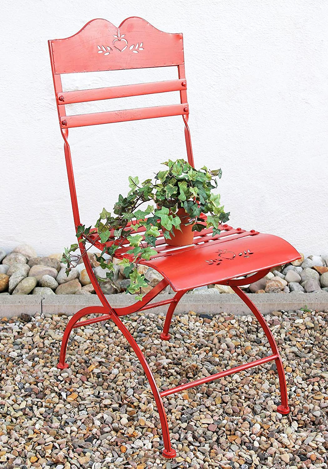 ChairPassion 18621 Garden chair made from metal red Flower bench Stool