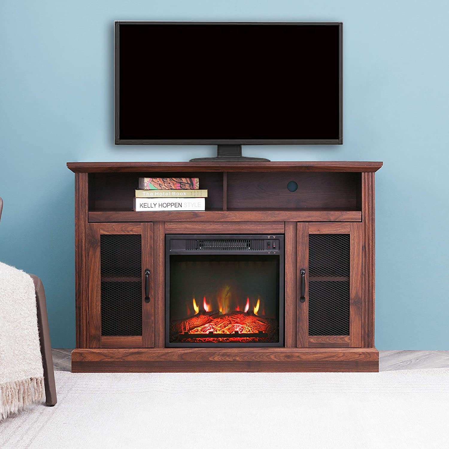 Amazon Com Lokatse Home Tall Electric Fireplace Stand Console For Tv S Up To 55 Living Room Storage Entertainment Center Espresso Walnut Furniture Decor