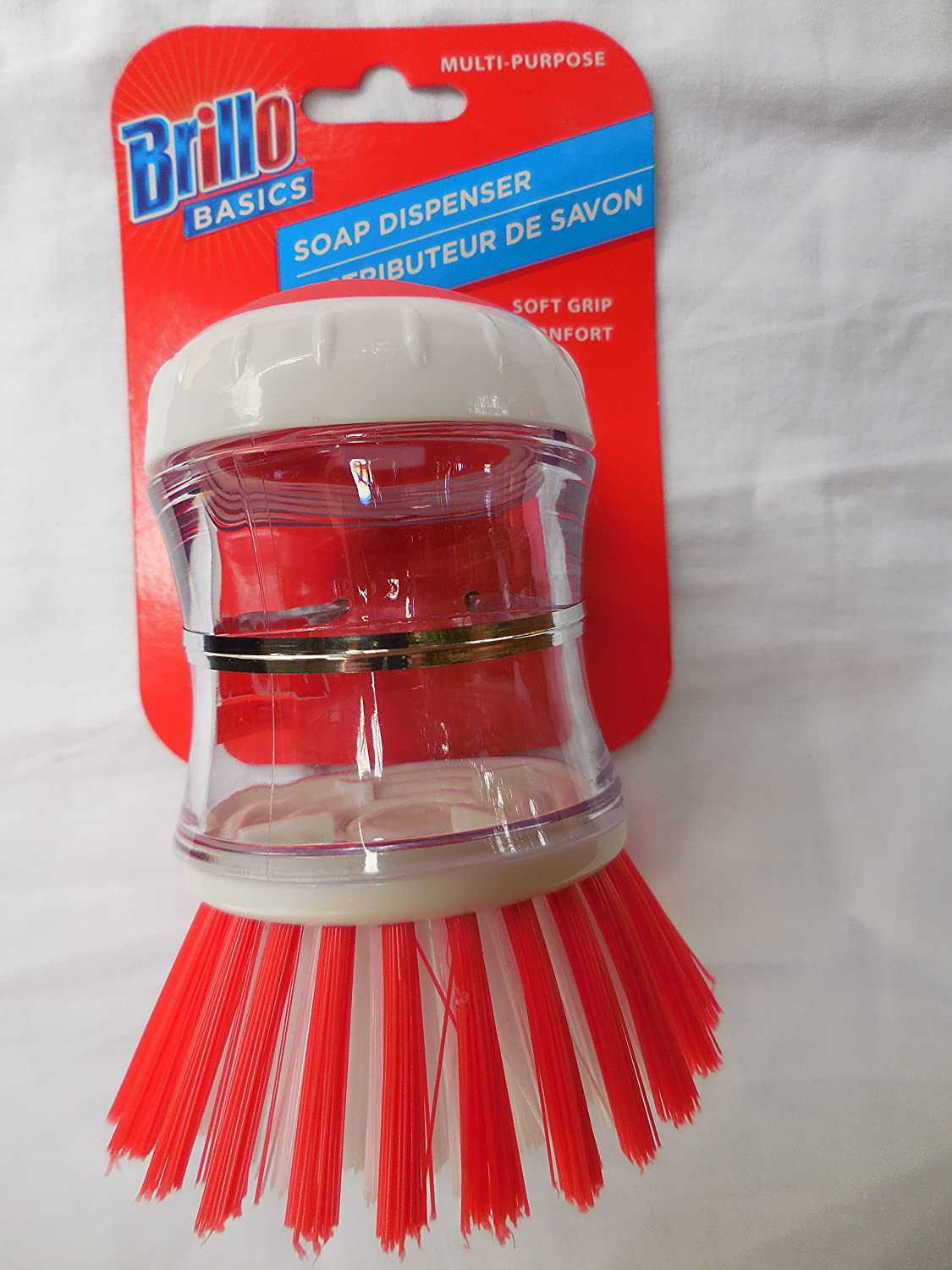 Soap Dispensing Palm Brush Kitchen Dish Wash Scrub Clean Dishwashing Bathroom BRILLO BASICS