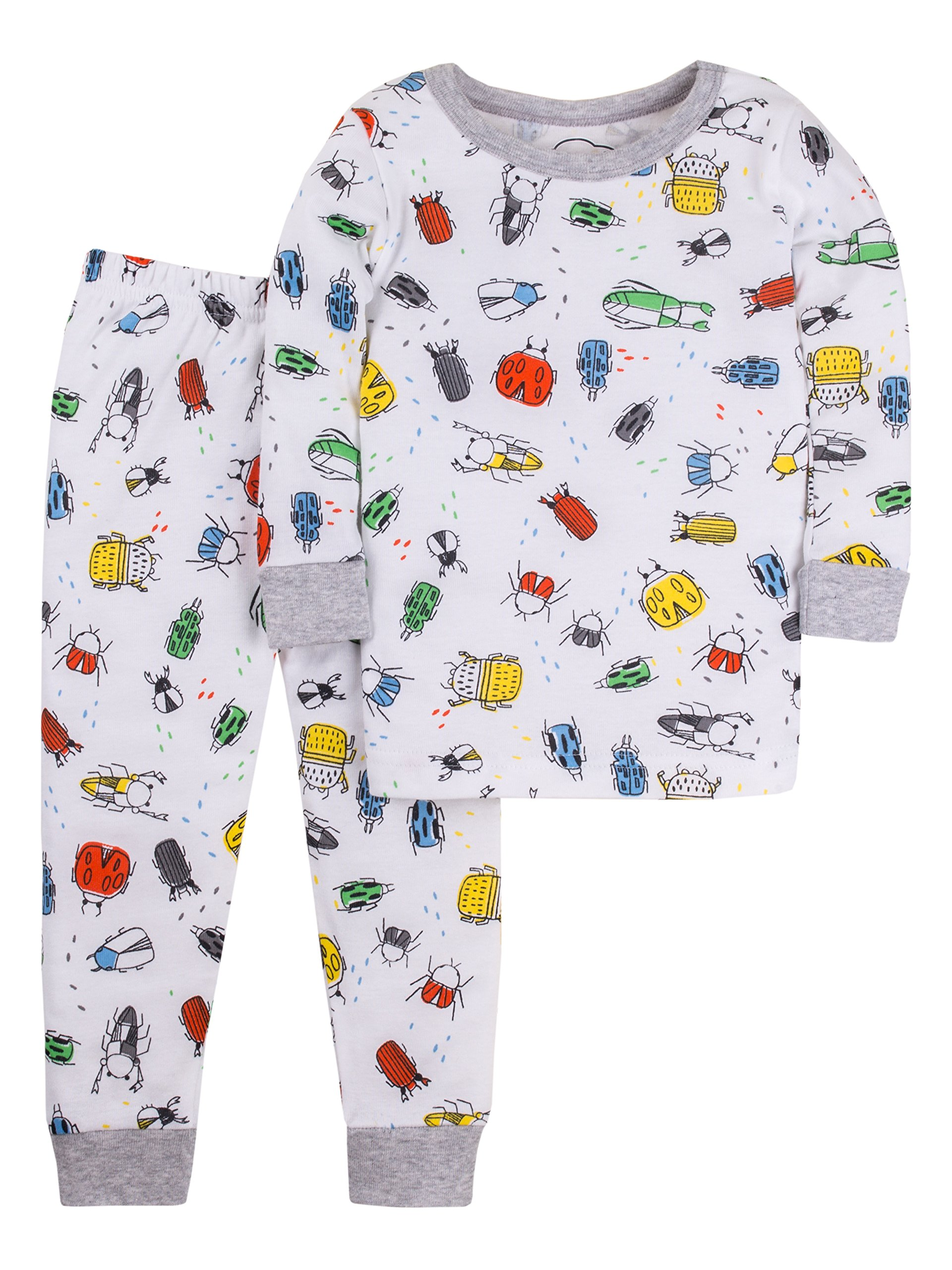 Lamaze Toddler Boys' Organic 2 Piece Longsleeve Tight Fit Pajamas Set, White, 3T
