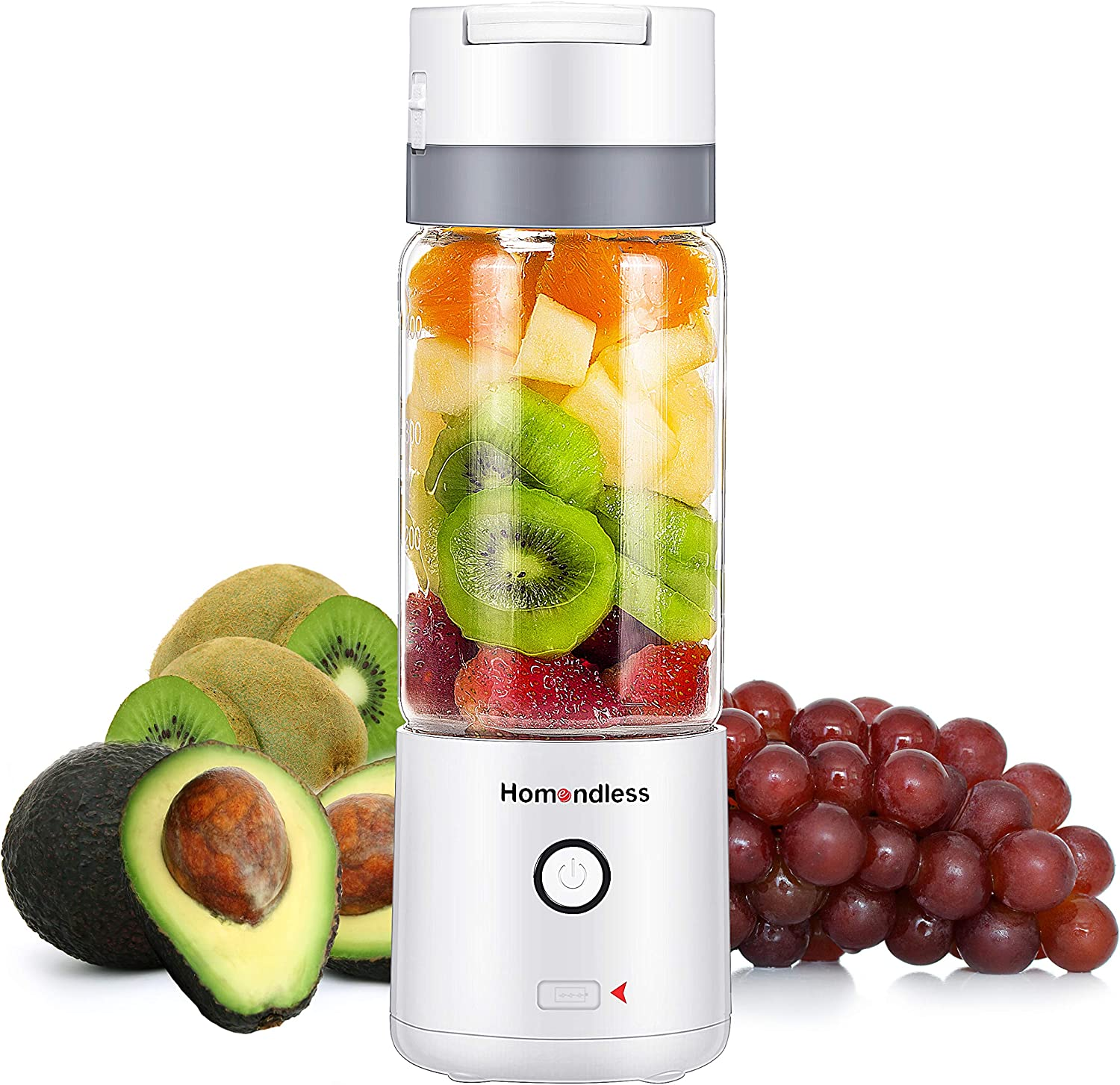 Portable Blender, Smoothie Blender with A Vacuum Lid, 4000 mAh Rechargeable Batteries 7.4V Strong Power, 14oz Glass Cup, 4 Blades Personal Blender for Office/Gym/Outdoors/Travel (White)