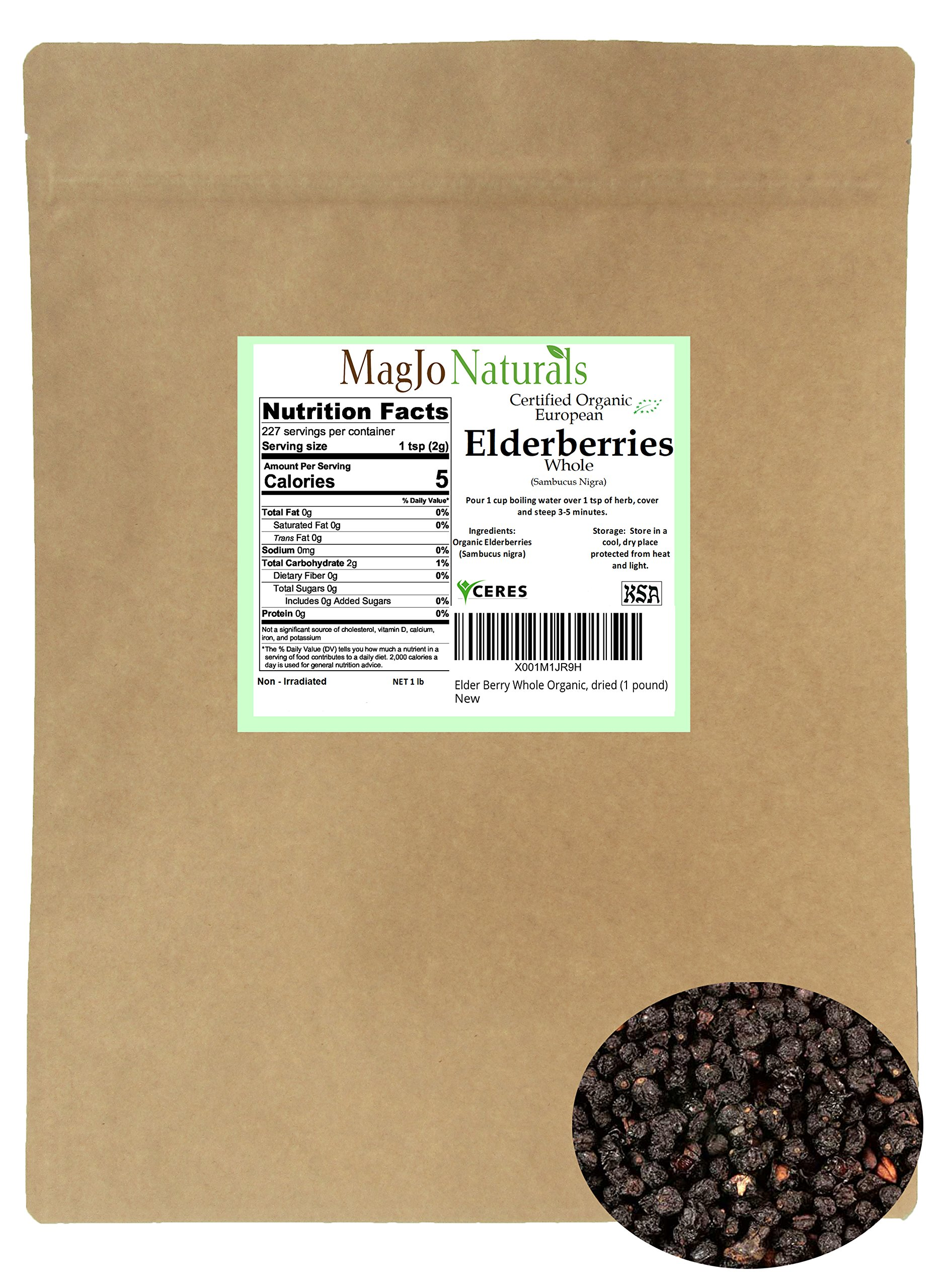 Elder Berry Whole Organic, dried (1 pound) by MagJo Naturals (Image #3)