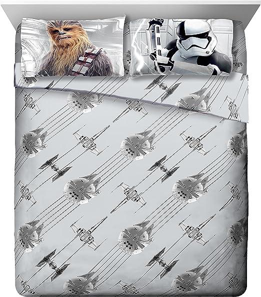 R2-D2 /& Chewbacca BB-8 Poe Star Wars Ep 8 Epic Poster Black//Gray Reversible Twin Comforter with Rey Leia Kylo Ren C3-PO Finn Luke Skywalker