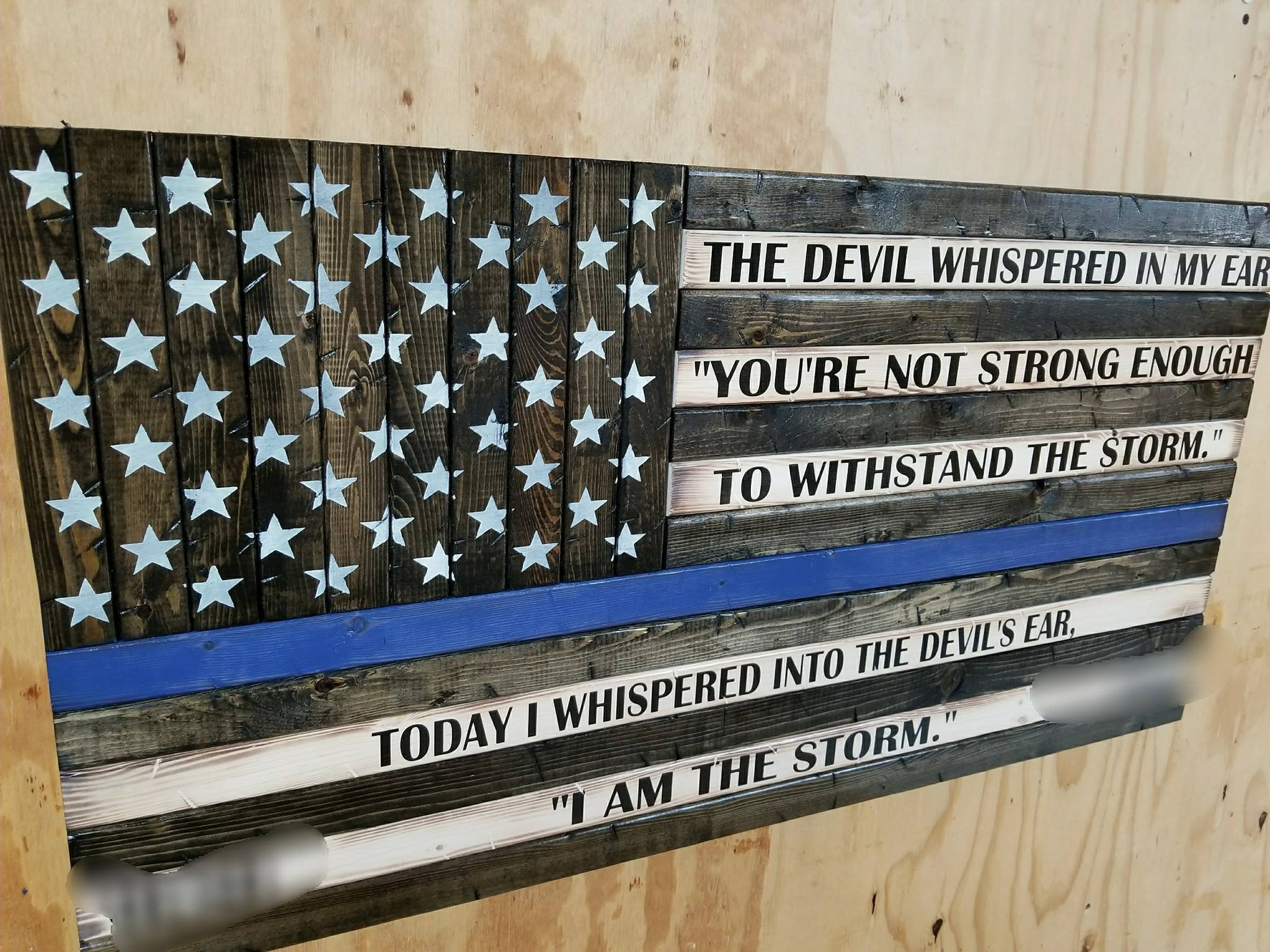 Wooden Rustic Style Thin Blue Line American Flag w/ ''I AM THE STORM'' Quote