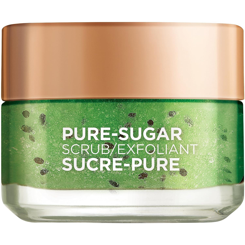 L'Oreal Paris Pure-Sugar Scrub with 3 Fine Sugars + Kiwi, Face & Lips, For Oily Skin, 50 ml L'Oreal Paris
