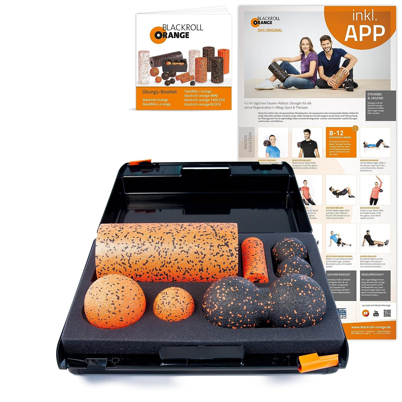 Schwarzroll Orange Die Faszienrolle - SMR-Set PRO, inkl. Koffer, Übungs-Poster und -Booklet