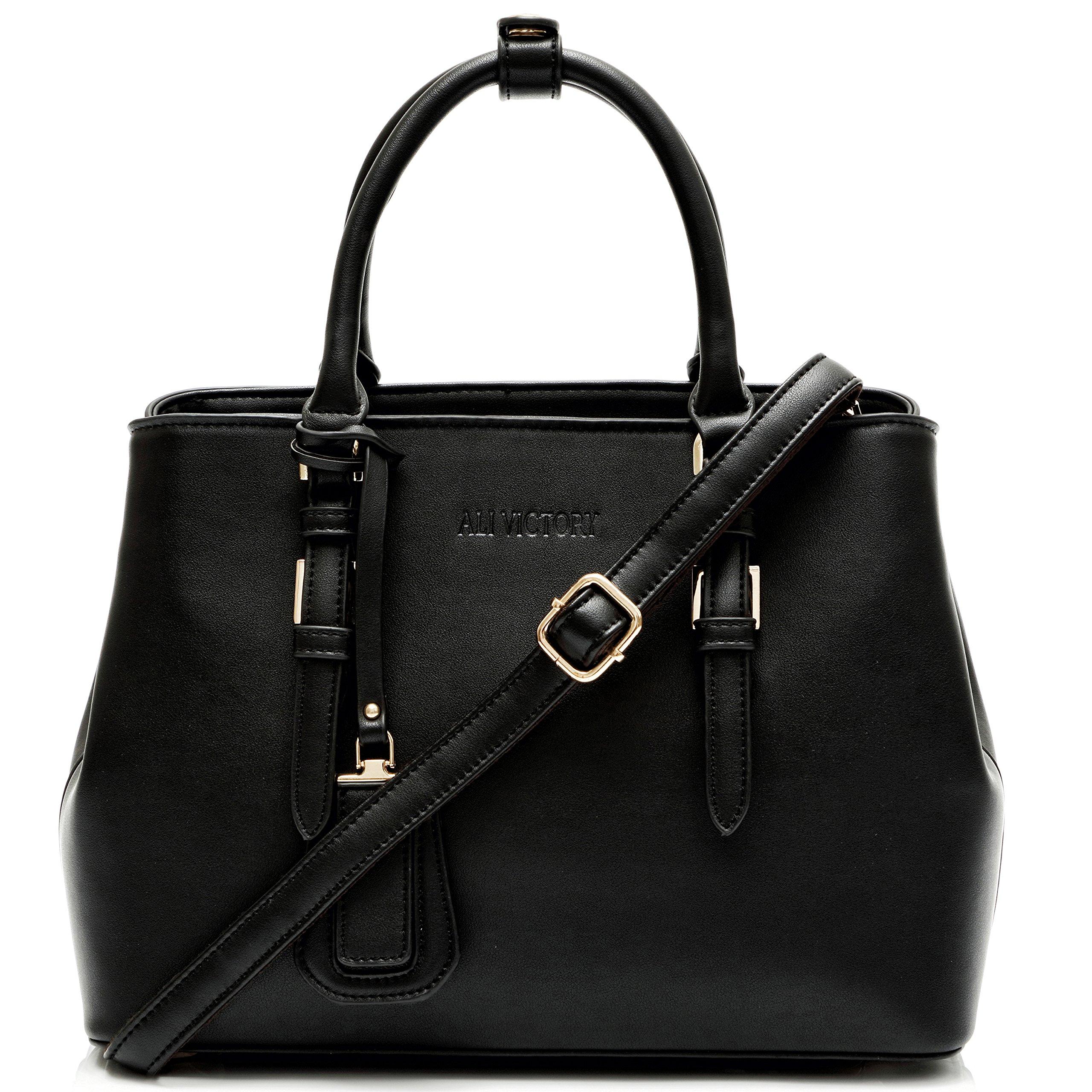 Ali Victory Classy Top Handle Satchel Handbags for Women (Black)