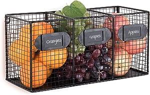 Free Standing Black Metal Wire 3 Bin Kitchen Pantry Organizer Basket, Mail Sorter w/Chalkboard Labels