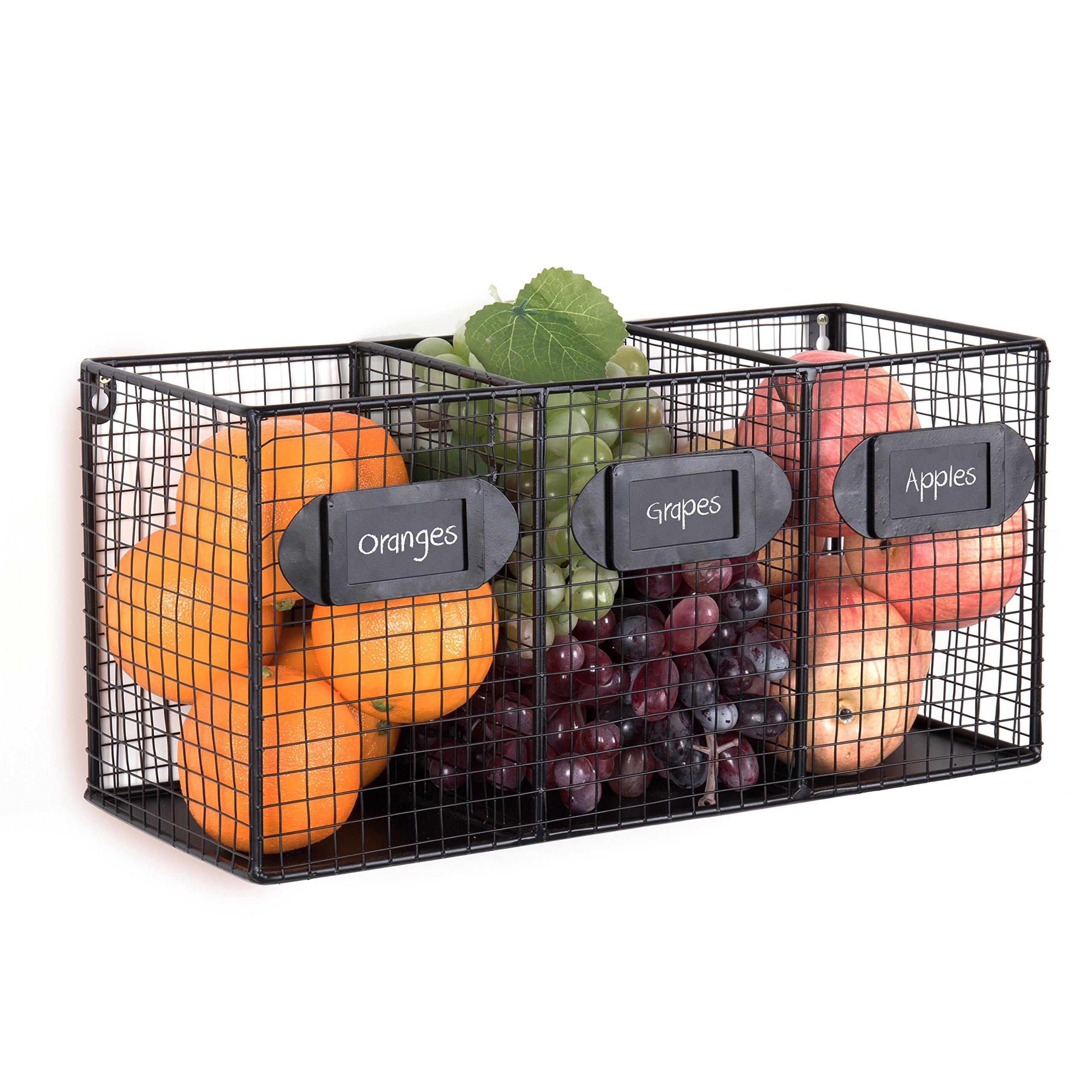 Wall Mounted Black Metal Wire 3 Bin Kitchen Pantry Organizer Basket, Mail Sorter w/Chalkboard Labels