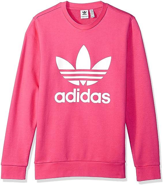 808c4f4b01a6 adidas Originals Girls' Big Originals Trefoil Crew Sweatshirt, Real Pink/White,  ...