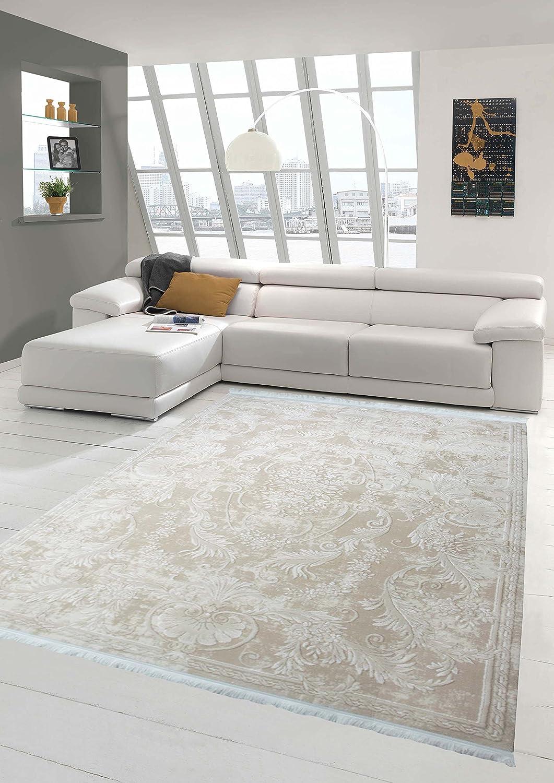 Traum Designer Teppich Moderner Teppich Wollteppich Meliert Wohnzimmerteppich Wollteppich Ornament Beige Größe 200 x 290 cm