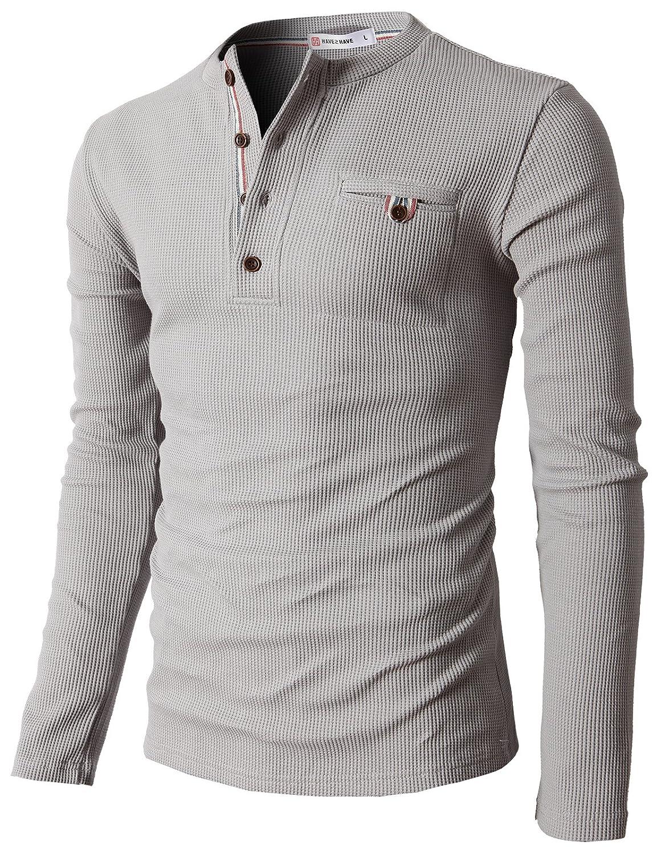 【H2H】 メンズ カジュアル ファッション ワッフル ヘンリー Tシャツ ポケット付き CMTTS0147 B00JR2N6Y4 3L|062-グレー 062-グレー 3L