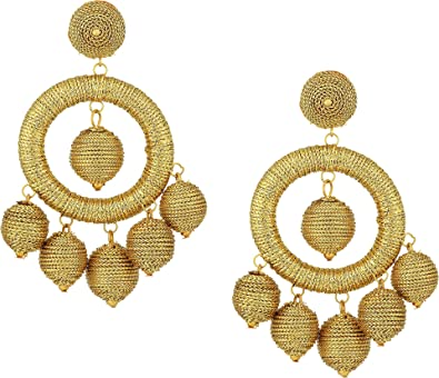 7766abf3e Kenneth Jay Lane Women's Graduated Gold Thread Wrapped Balls Drops w/ Dome  Top Post Earrings