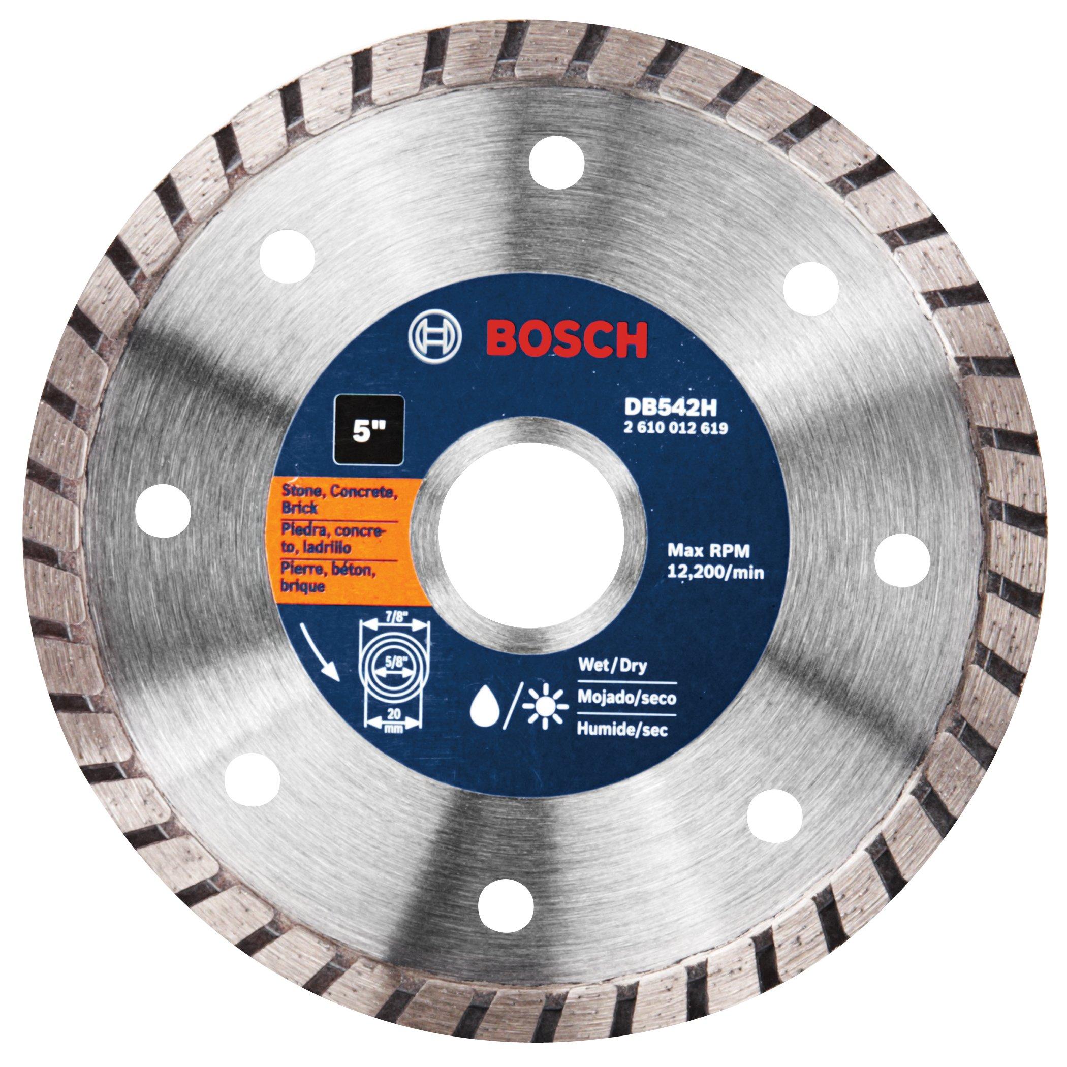 Disco de Diamante BOSCH de borde continuo de corte en seco DB542 Premium Plus de 5 pulg. con eje de 7/8 pulg. para mampo