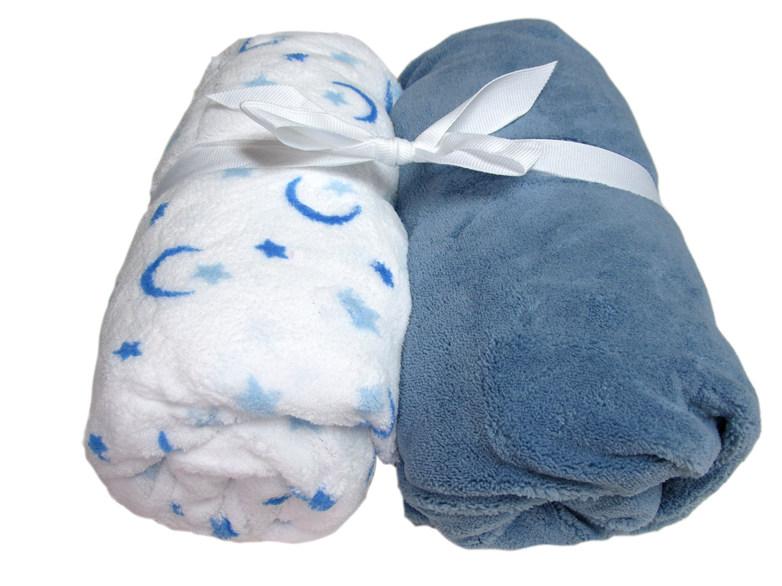 Cozy Fleece Microplush Crib Sheets, Blue/White with Moon and Stars