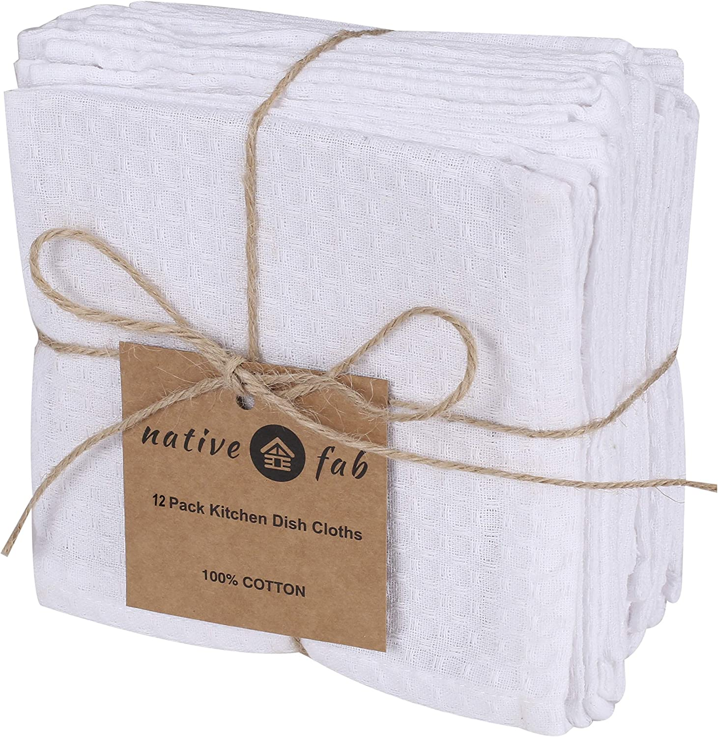 Native Fab Waffle 12 Pack Kitchen Dish Cloths Cotton 12x12 Absorbent Washable, Dish Towels, Restaurant Cleaning Towels, Bar Mops Towels, Rags for Home Kitchen Bars, White