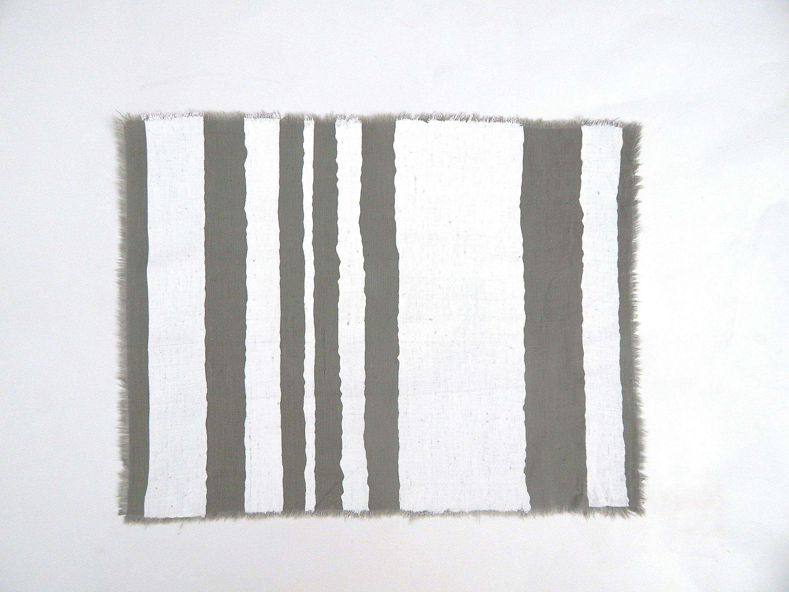 Gitika Goyal Home Windows Collection Cotton Khadi  Grey Mat 17x12 Wave Design, White Hand Screen Print