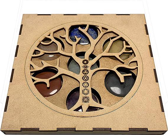 Lamare Set Minerales 7 CHAKRAS en caja madera Flores