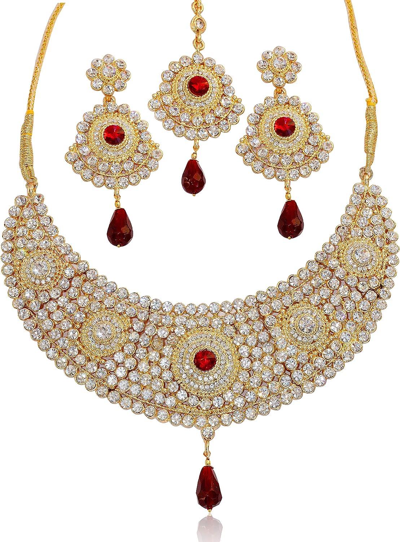 Touchstone Collier de bijoux de mari/ée bijou indien blanc faux rubis /élabor/ée hasli pour femme Rouge