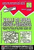 Carta n. 1 Val di Susa, Chisone e Germanasca 1:50.000. Carta dei sentieri e dei rifugi