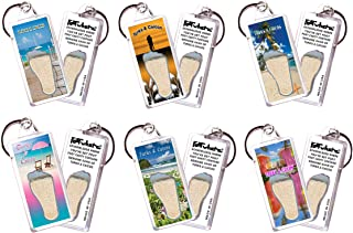 product image for Turks & Caicos FootWhere Souvenir Keychains. 6 Piece Set. Authentic destination souvenir acknowledging where you've set foot. Genuine soil of featured location encased inside foot cavity. Made in USA