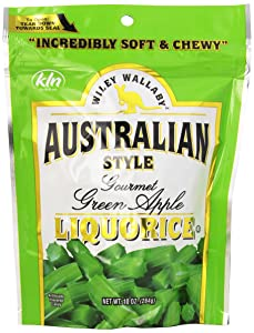 Wiley Wallaby Australian Style Gourmet Licorice, Green Apple, 10 Ounce Bag