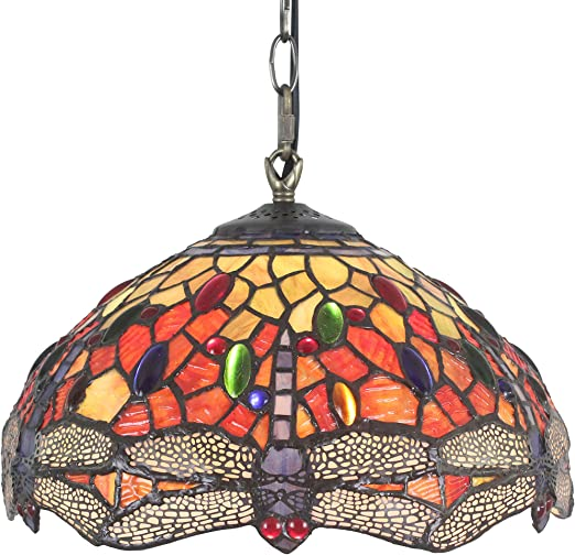 BAYCHEER Tiffany Style Stained Glass Butterfly Chandelier