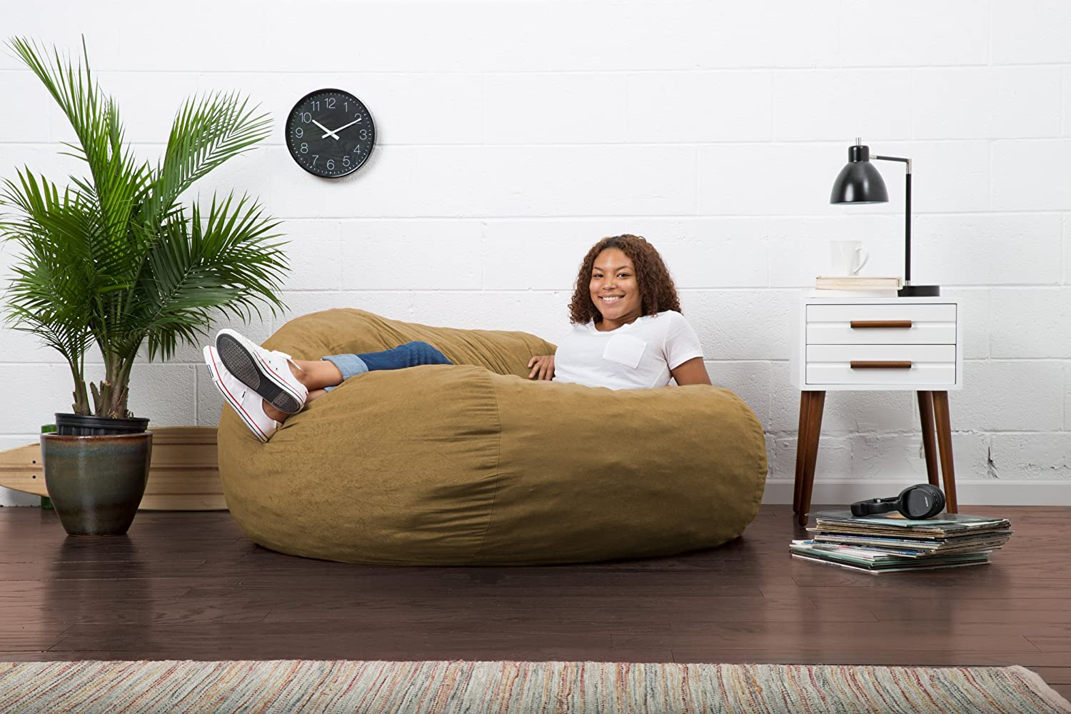 Awesome Big Joe Comfy King Size Fuf Foam Filled Bean Bag Chair In Theyellowbook Wood Chair Design Ideas Theyellowbookinfo
