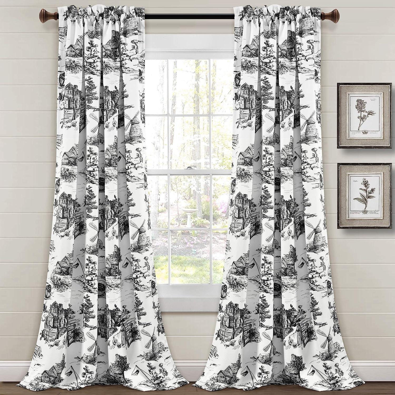 Lush Decor French Country Toile Room Darkening Window Curtain Panel Pair, 84