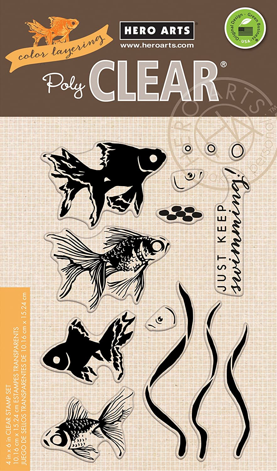 Hero Arts Color Layering Goldfish Clear Stamps Inc. us home HEROV CL945