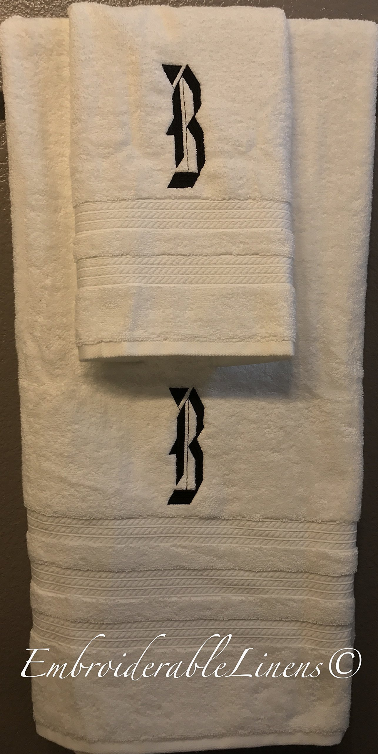 Premium Oversized Plush Luxury Monogramed Towel Set by EmbroiderableLinens© Your choice of color towel set, font for monogram, and color for embroidery!