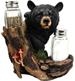 Atlantic Collectibles Black Bear In the Woods Salt Pepper Shakers Holder Figurine
