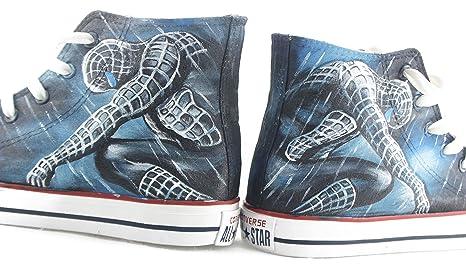 hand painted shoes Zapatillas pintadas a mano Chuck Taylor Converse Negro Original Diseño Spiderman Zapatillas Hombre Mujer Zapatillas: Amazon.es: Hogar