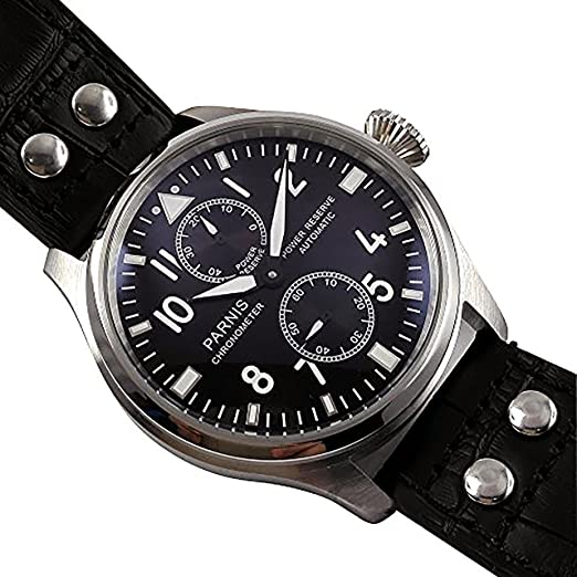 whatswatch 47 mm PARNIS Big Pilot blackdial Power Reserve de gaviota - Reloj automático para hombre pa-01137: Amazon.es: Relojes