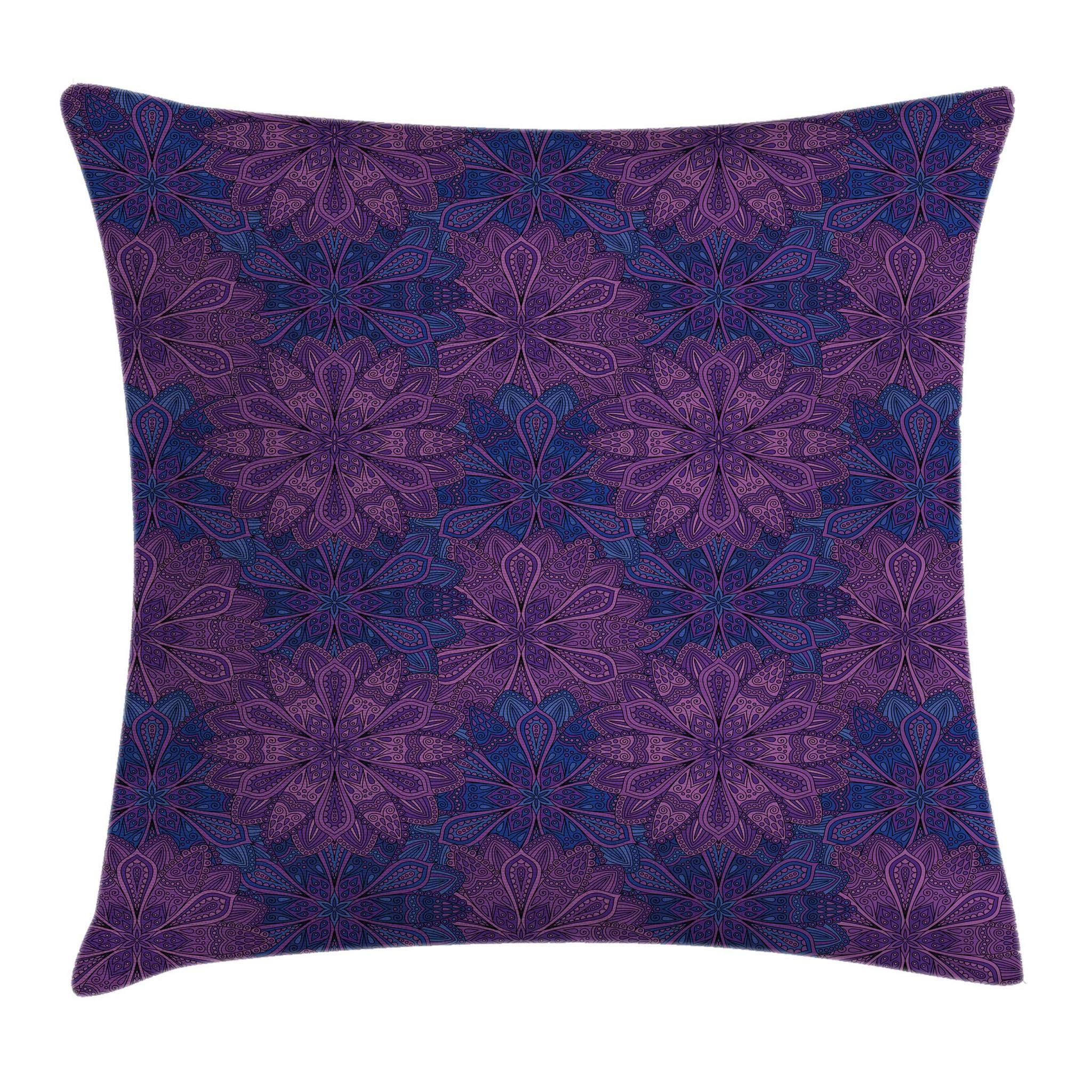 Ambesonne Indigo Throw Pillow Cushion Cover, Ethnic Paisley Flower Inspired Design with Inner Swirls Leaves Image, Decorative Square Accent Pillow Case, 18 X 18 Inches, Pink Purple and Dark Blue