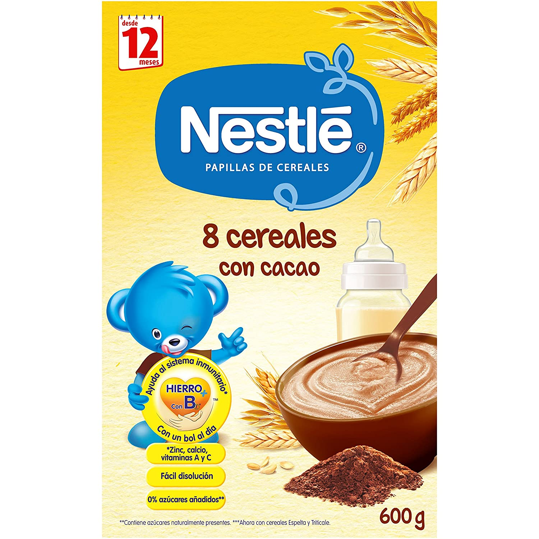 Nestlé Papilla 8 Cereales con Cacao, Alimento Para bebés - 600 gr