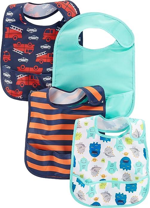 f4c3393b1 Amazon.com: Simple Joys by Carter's Baby Boys' 4-Pack Feeder Bibs ...