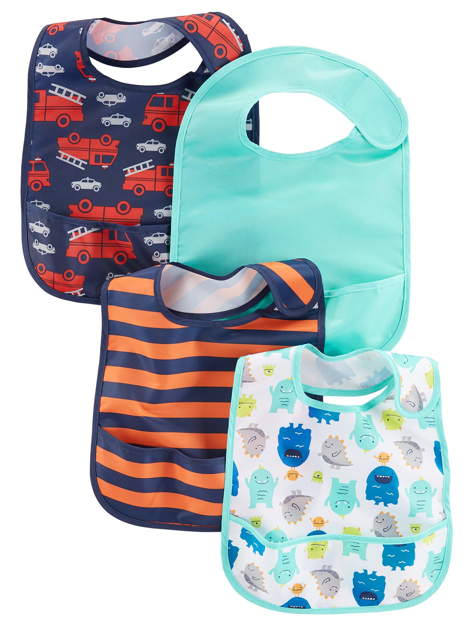 Simple Joys by Carter's Baby Boys' 4-Pack Feeder Bibs, Fire Trucks/Monsters/Stripe, One Size