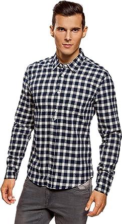 oodji Ultra Hombre Camisa Recta de Franela