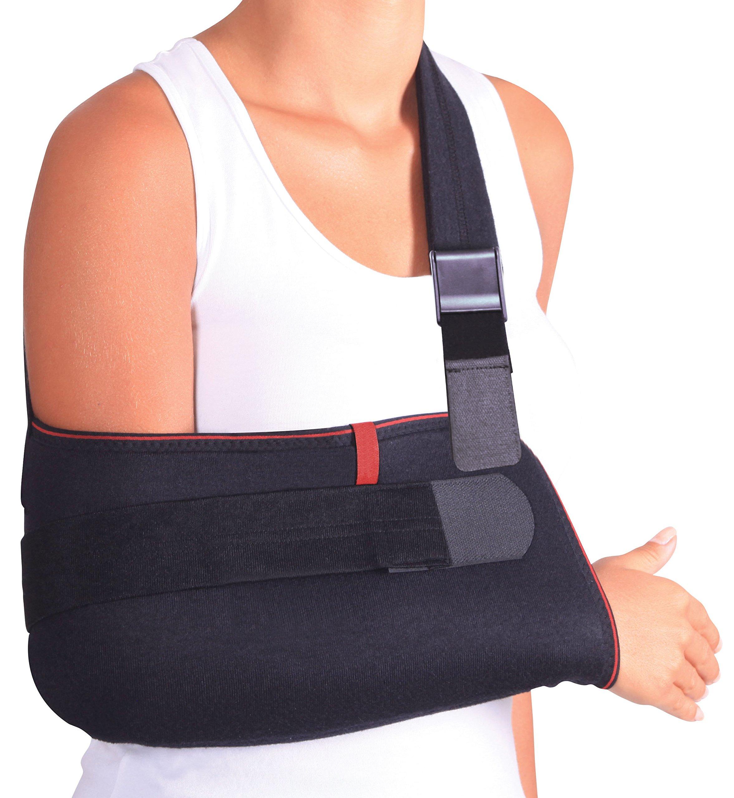 ORTONYX Arm Support Sling Shoulder Immobilizer Brace – Breathable and Lightweight – Fully Adjustable - L-XXL Black
