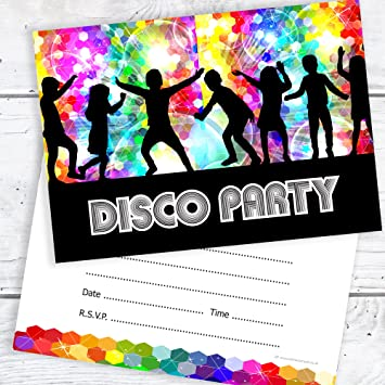 Kids Disco Party Invitations Ready To Write A6 Postcard Size