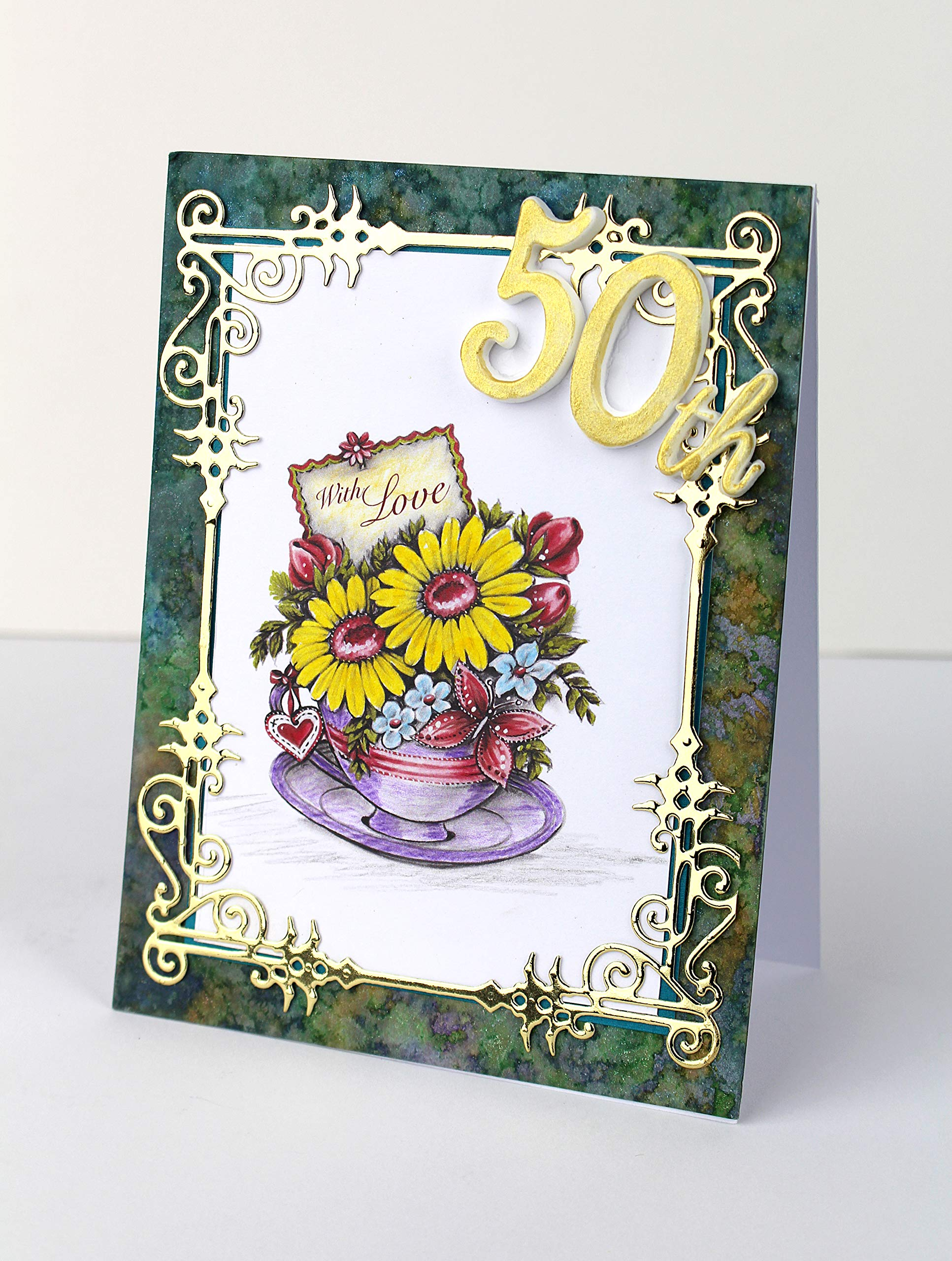 Say it with Flowers Greyscale Collection Paper Pad, Paper Craft Pads, Card Making Kit, Makes 120 Card Toppers, Works with Dies by Katy Sue (Image #3)
