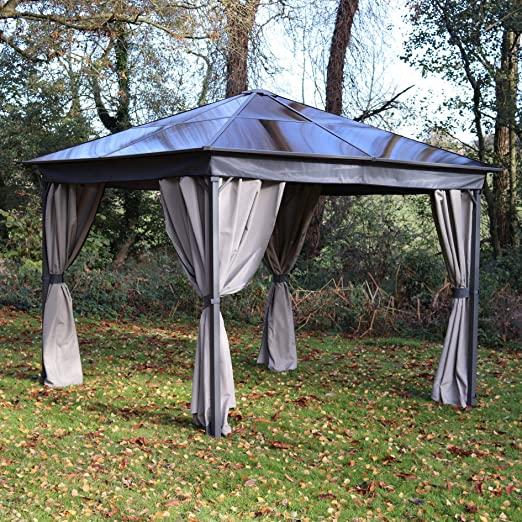 MASTERS OUTDOOR LEISURE LTD Gazebo - Techo de policarbonato (3 x 3 m, Incluye Cortinas): Amazon.es: Jardín