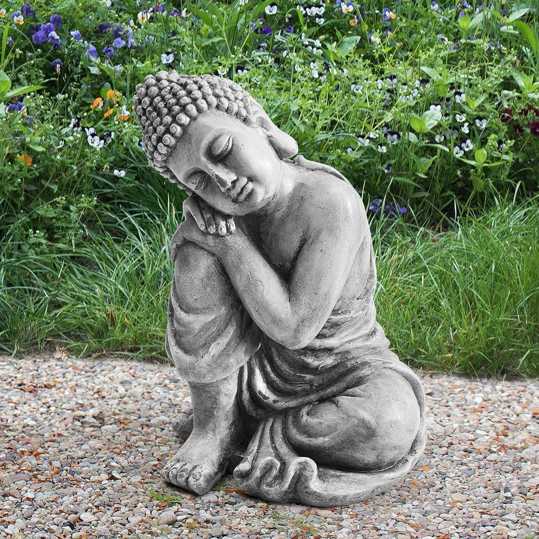 Sunjoy Thomas Decorative Buddha Garden Statue, Gray