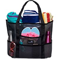 Dejaroo Mesh Beach Bag – Toy Tote Bag – Large Lightweight Market, Grocery & Picnic Tote with Oversized Pockets